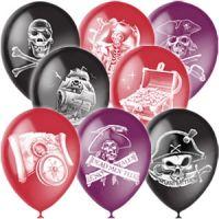 """Надувные шары М12""""/30см Декор Пираты (шелк) 2ст.рис (100шт)"""