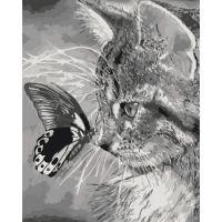 "Картина по номерам ""Котенок и бабочка"""