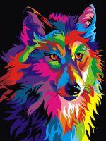 """Картина по номерам """"Радужный волк"""""""